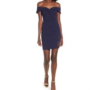 NWT Navy Off Shoulder Strapless Bodycon Dress 5, 7